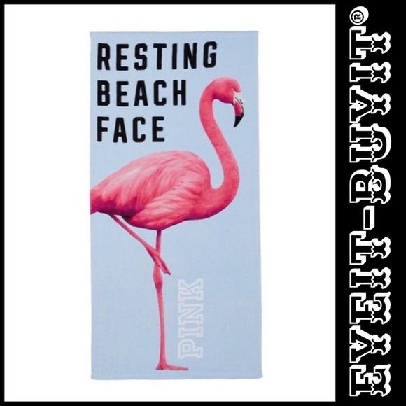 "VICTORIAS SECRET PINK FLORAL BLUE BEACH BATH TOWEL 28/"" X 58/"" /""PINK/"" NWT"